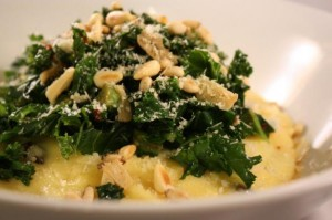 creamy parmesan polenta with garlic kaleA